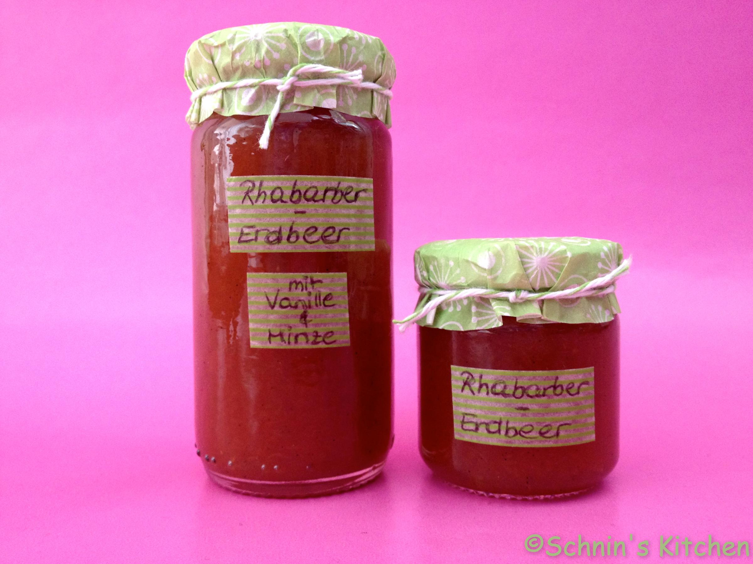 rhabarber erdbeer marmelade mit vanille minze schnins kitchen schnins kitchen. Black Bedroom Furniture Sets. Home Design Ideas