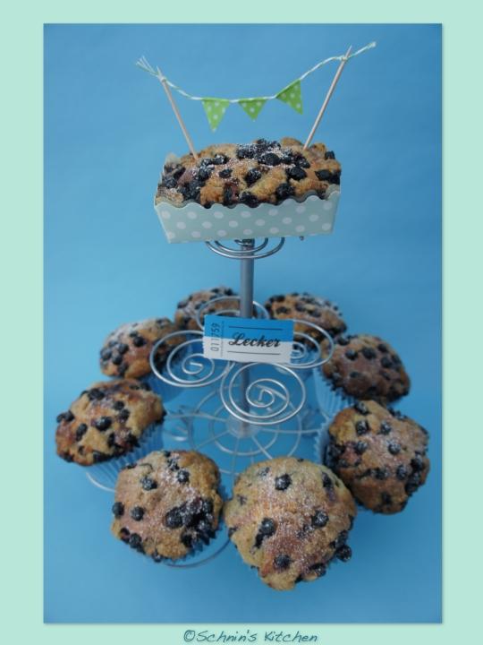 Schnin's Kitchen: Blaubeer-Käsekuchen-Muffins mit Minz-Streuseln