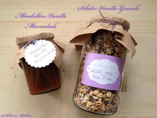 Schnin's Kitchen: Süße Postkette mit Mirabellen-Vanille-Marmelade & Schoko-Vanille-Granola