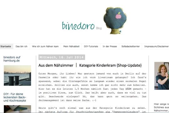 Schnin's Kitchen: {Blog-Liebe} Blogvorstellung Binedoro