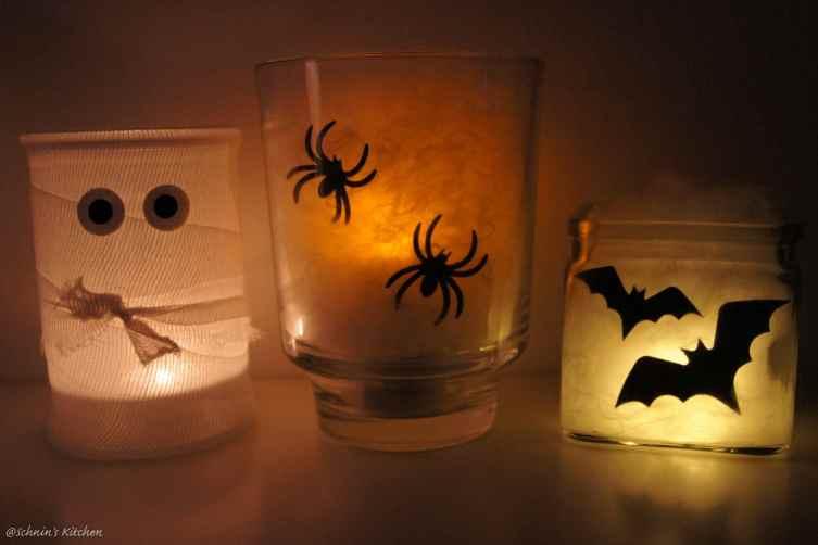 Halloween-DIY Spinnennetz-Windlichter